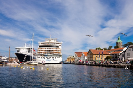 Stavanger city located on the south-west coast of Norway, in the summer frequently visited by tourists from around the world.