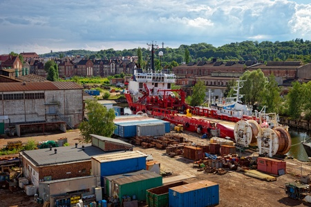 Industrial view of the Gdansk Shipyard, Poland. photo