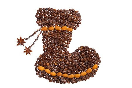 Boots symbol made from coffee beans. photo