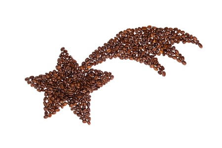caffee: Star of Bethlehem symbol made from coffee beans.