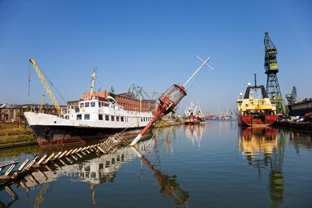 Ship wreck in shipyard