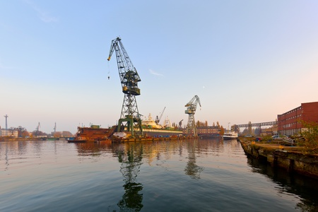 cargo vessel: Industrial view of the Gdansk Shipyard, Poland. Stock Photo