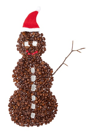 coffee bar: Snowman in a hat made from coffee beans. Stock Photo