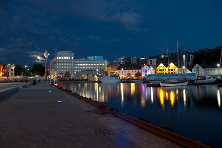 Night view of the city center Stavanger, Norway.
