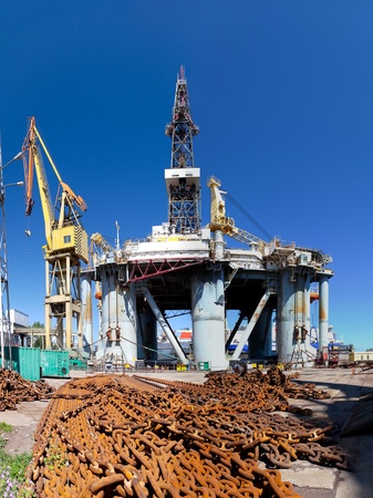 Repair of oil rig in the shipyard Gdansk, Poland. photo