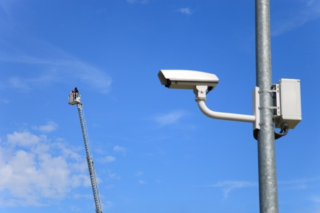 Secure area - industrial monitoring cctv. photo