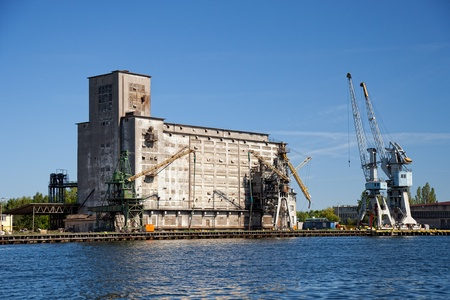 Grain elevator in port of Gdansk, Poland. photo