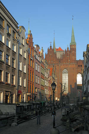 Marys Street with the Basilica in Gdansk, Poland.
