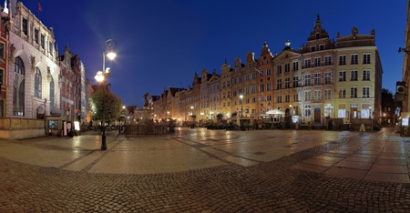 king neptune: Night panorama of the old town of Gdansk, Poland.