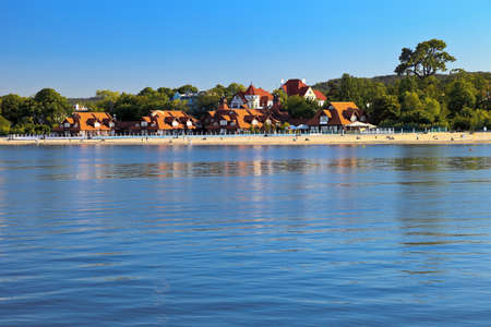 The view from the pier to the beach in Sopot, Poland. photo
