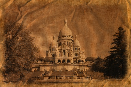 The famous basilica of Sacre-Coeur in Montmartre, Paris. /Artistic work of my own in retro style/