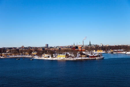 Scenic winter panorama of Stockholm, Sweden.