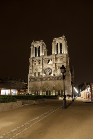 Night View of Notre Dame de Paris, France.