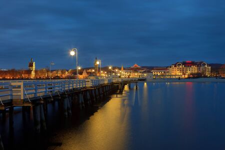old pier: Night view from the pier at Sopot, Poland.