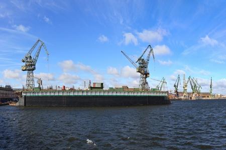 dockyard: Industrial view of the Gdansk Shipyard, Poland. Editorial