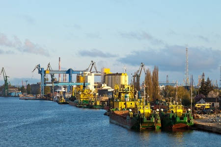 Dredging ship berthed at the wharf port in Gdansk, Poland.