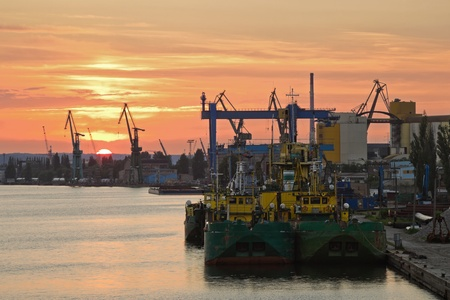 Sunset at the port in Gdansk, Poland.