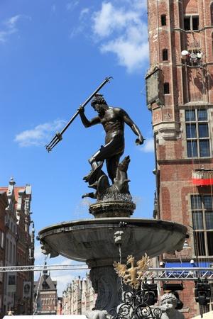 gdansk: Neptune Fountain in Gdansk, Poland.