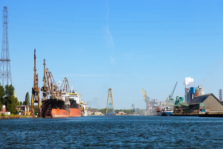 disembark: Industrial view at port of Gdansk, Poland. Editorial