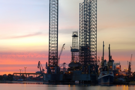 Oil Rig in the morning at the shipyard.