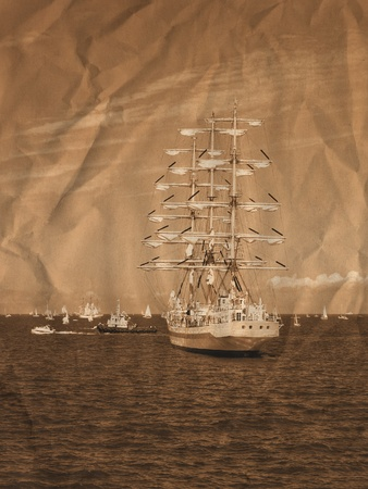 Sailing regatta in the Baltic. Gdynia, Poland. Artistic work of my own in retro style
