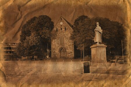 Stavanger Cathedral bulit from 1125 in Anglo-Roman style. /Artistic work of my own in retro style/ Stock Photo - 11817088
