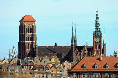 gdansk: Aerial view of the Basilica of St. Mary
