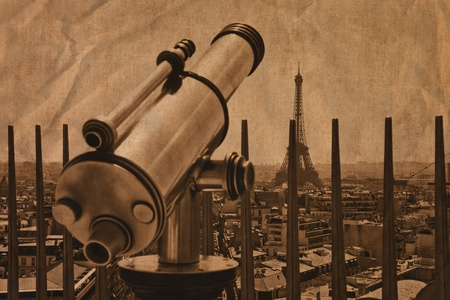 The telescope and tower Eiffel in Paris, France. /Artistic work of my own in retro style/ Stock Photo - 11879145