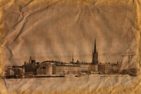 Winter in Stockholm Stockholm, Sweden. Artistic work of my own in retro style photo