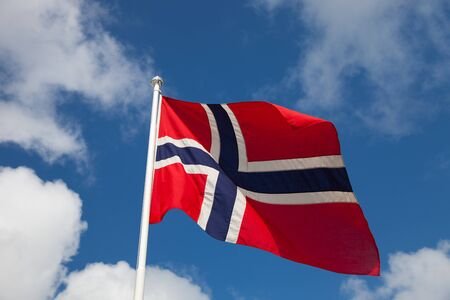 Norway national flag in the sky. photo