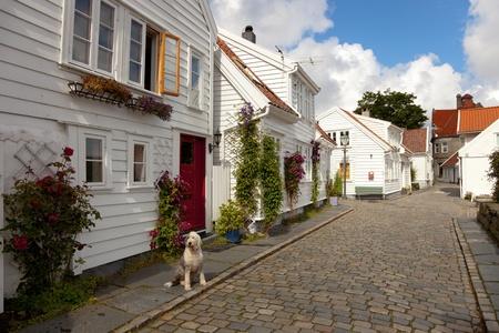 Traditional wooden houses in Stavanger, Norway.