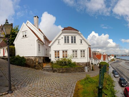 Traditional wooden houses in Stavanger, Norway.