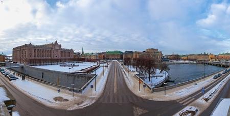 Riksdag building at Helgeandsholmen island. Stockholm, Sweden.