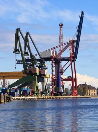 Large gantry cranes at the port of Gdansk, Poland.