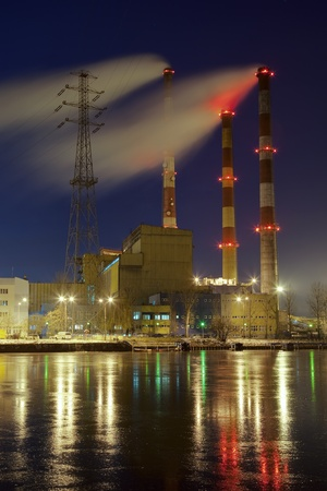 work station: Power station in the freezing night in Gdansk, Poland.