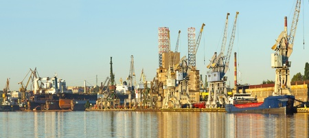 Panorama of the harbor and the shipyard in Gdansk, Poland. Stock Photo - 12499831