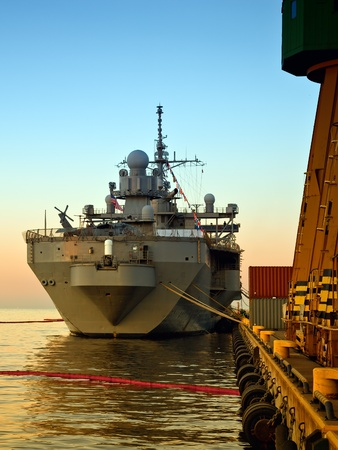 a battleship: A US Warship in port of Gdynia, Poland.