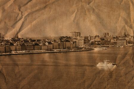View of the beautiful architecture of Stockholm, Sweden. Artistic work in retro style photo