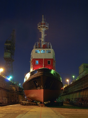 Ship to dock at the shipyard during the renovation of Gdansk, Poland.