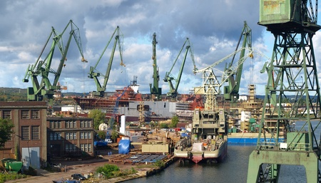 View from the dock to the panorama of the Gdansk shipyard, Poland. photo