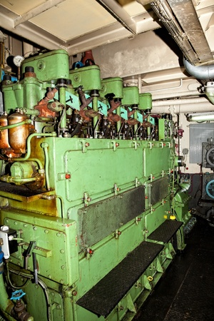 engine room: Closeup of the old large naval engine.