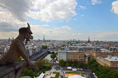Chimera from Notre Dame looking at Paris, France  photo