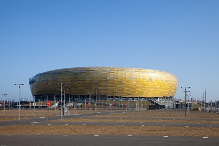 gdansk: GDANSK, POLAND - MARCH 22: PGE Arena newly built football stadium for Euro 2012 Championship. Stadium has a capacity of 44 000 people. March 22, 2012 in Gdansk, Poland. Editorial
