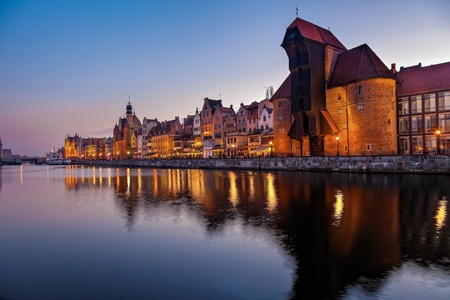 Evening view over the river Motlawa the Old Town in Gdansk, Poland
