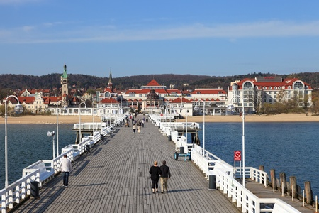 View from the pier on the beautiful architecture of Sopot, Poland.