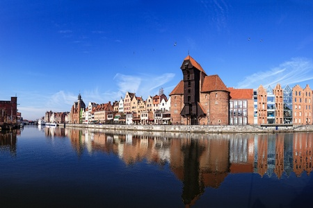 gdansk: The riverside with the characteristic crane of Gdansk, Poland. Editorial