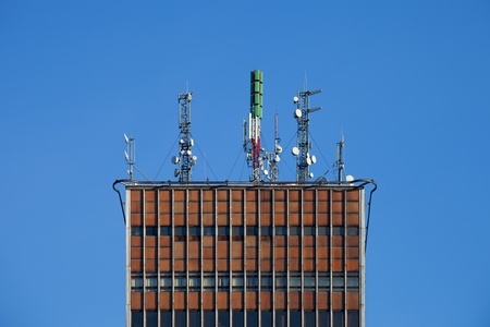 Detail of transmitter tower mounted on a skyscraper