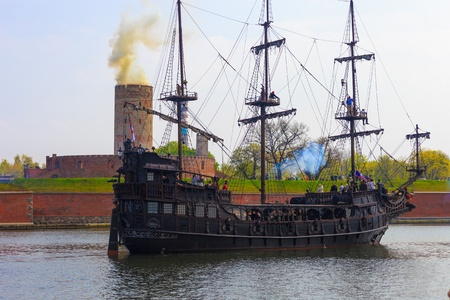GDANSK, POLAND - MAY 5: Reconstruction of the Sea Battle - Armed galleons attacking the fortress Wisloujscie, May 5, 2012 in Gdansk, Poland.