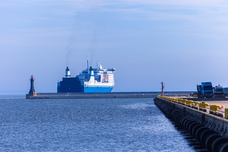 Passenger ferry departs from a port of Gdynia, Poland  photo