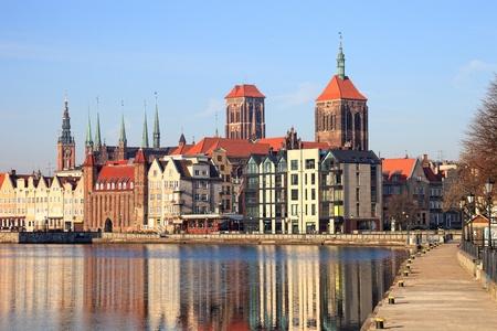 gdansk: Motlawa river with city skyline in the background of Gdansk, Poland.